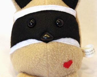 Raccoon with Mask - Whee One - Stuffed Animal - Tan and Black Stuffed Toy - Plushie