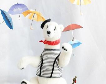 Artist polar bear Teddy Bear OOAK bear Mime