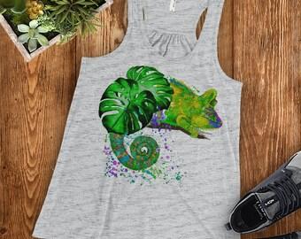 Watercolor Chameleon | Racerback Tank Top Ladies' Women's | Tropical Lizard Reptile Lover Gift Personalize Watercolor