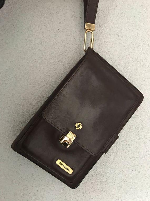 Vintage nineties Samsonite brown leather handbag purse or pocketbook