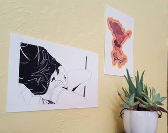 Erotic Sport Black and White Wall Art - Print