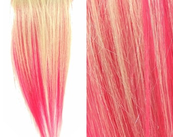 """Set of TWO 8"""" Clip-In Human Hair Streaks, Pale Blond and Cupcake Pink Two Tone - blonde neon pink festival hair extensions"""