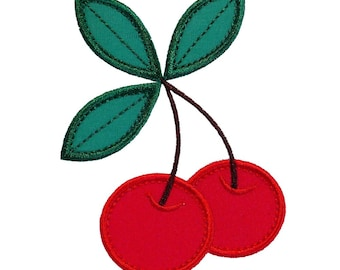 """Cherries Machine Embroidery Designs Applique Patterns in 4 sizes 3"""", 4"""", 5"""" and 6"""""""