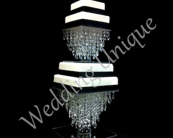 Glass Crystal chandelier cake stand square 1 or 2 tiers