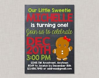 Gingerbread Girl Birthday Invitations,Gingerbread Birthday Invitation,Gingerbread Birthday,Gingerbread Party Invitation,Gingerbread Cookie