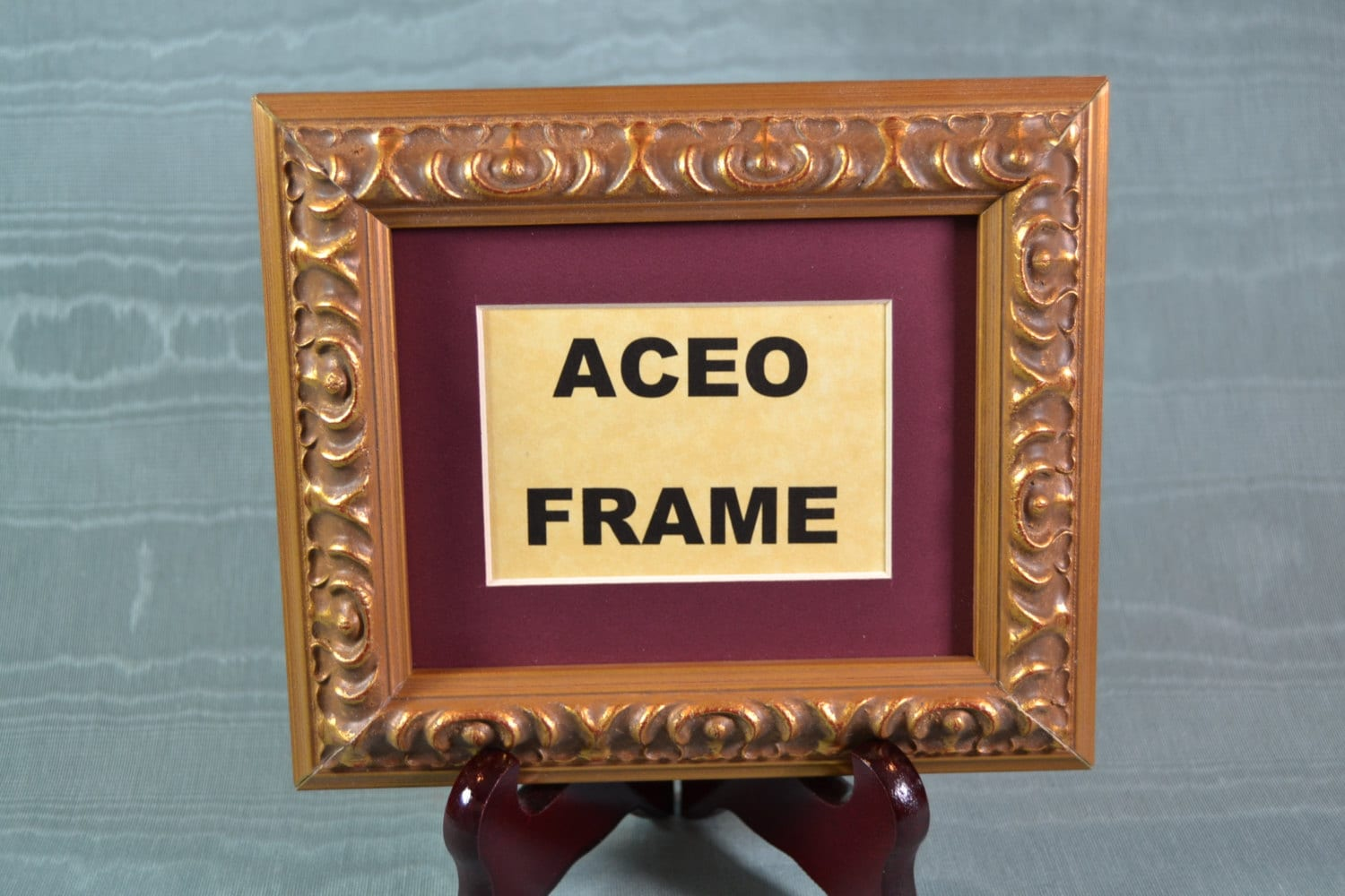 Picture Frame with Wooden Easel Stand - Ornate Gold Frame 4x5 - ACEO ...