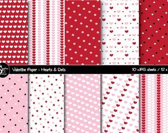 Valentine Paper, Valentine Scrapbooking Paper, Valentine Digital Background, Heart Paper, Printable Paper, Instant Download
