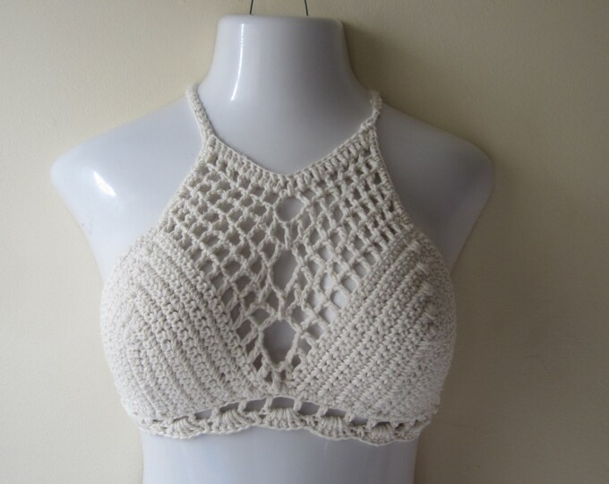 BRALET TOP, Crochet halter top, Halter top, festival clothing, boho chic, beach cover up,  burning man, gypsy top, cotton