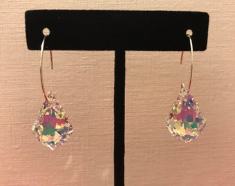 Earring with Boreal Swarovski crystal in sterling silver