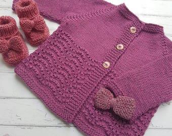 Little Cardigan - Size 0 - Hand Knitted - Bamboo/Merino