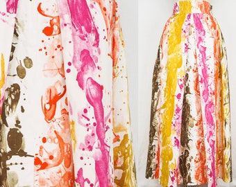 Psychedelic maxi skirt marble paint pleated and gathered 60s skirt high waisted long skirt