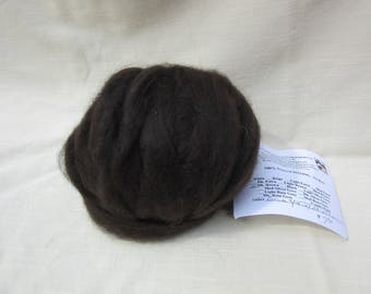 2 oz. Dark Brown Alpaca Roving - for Spinning, Nuno Felting or Needlefelting