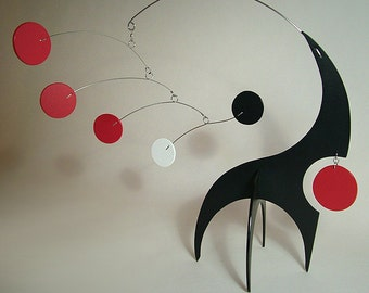 Modern Mobile Tabletop Art Sculpture Stabile Lil Swinger Small Sculpture Kinetic Calder Styled Home Decor