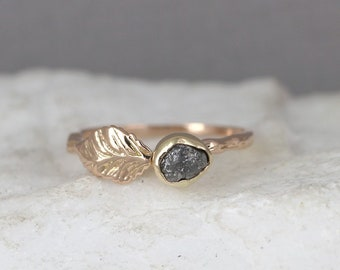Rose Gold Raw Diamond Twig & Leaf Engagement Ring - Branch Ring - Uncut Rough Diamond Rings - Tree Branch Ring -14K Gold Made in Canada