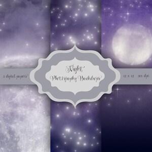 Night Digital Photography Backdrop - Moon & Strars pattern halloween digital papers 12 x 12