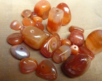 Orange baroque agate stone beads 25 * 6 mm to 27 mm * craft before 2000