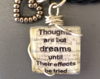 Shakespeare book quote necklace