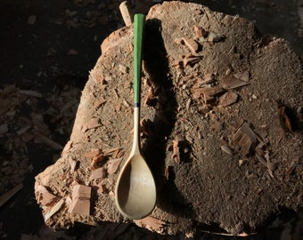 """Bushcraft spoon, cooking spoon, soup spoon, all in one spoon, 9"""" long, hand carved wooden spoon"""