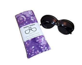 Sunglass Eyeglass Case, Sunglass Eyeglass Holder, Purple Grape Juice, Batik Fabric, Gift for Girls and Women,