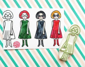 girl in dress rubber stamp | stamp for art journals | diy birthday gift | fashionista | street fashion no3 | hand carved by talktothesun