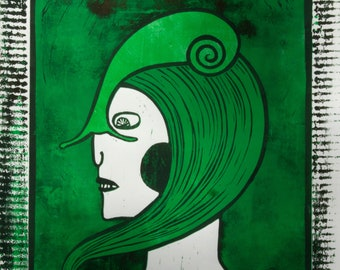 Lady with a Snail- 4 colour linocut, limited edition