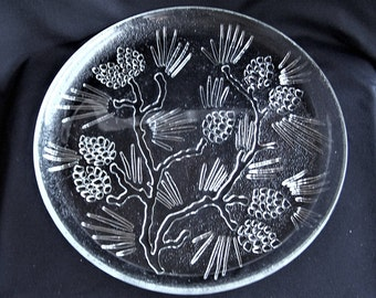 Tiara Ponderosa Pine Clear Pressed Glass Dinner Plates,  Set of 4 Pine Cone and Pine Bough Plates