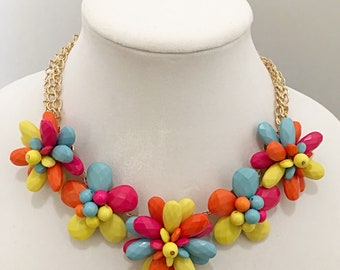 Multi Colored Flowers Bib Necklace / Gold Chain Multi Colored Flowers Necklace.