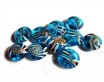 Blue White Golden Puffed Coin Lampwork Glass Beads - Set of 10