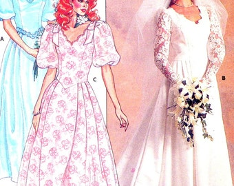 80s Romantic style Wedding gown Bridesmaid dress sewing pattern Butterick 3615 UNCUT Sz 12
