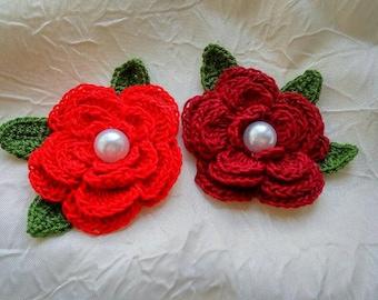 Set flower 2 pcs with leaves crochet flowers crochet applique scrapbooking set decoration flower wedding flower headband flower,embelishment