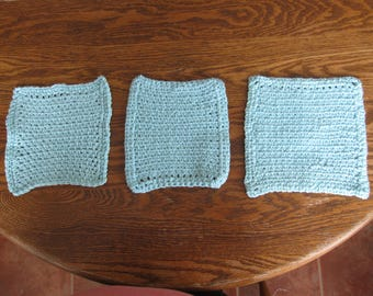 Set of 3 Hand Crocheted Cotton Dishcloths in Robin's Egg Blue
