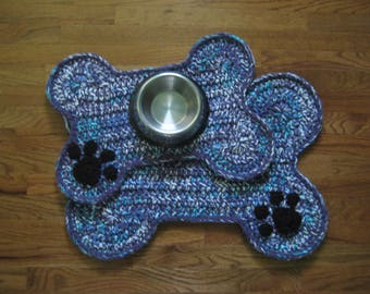 Dog Bone Placemat Rug; Bone Shape Mat Rug; Pet Crate Mat; Food Floor Placemat