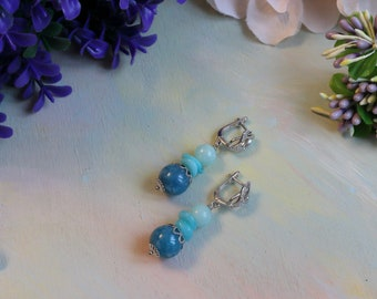 Earrings with aquamarine, amazonite and quartz, silver-plated