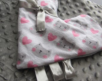 Baby blanket Cats and hearts and sensory toy