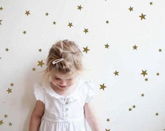 Gold Star Wall Decals, Star Wall Stickers, Nursery Wall Decal, Gold Confetti Stars