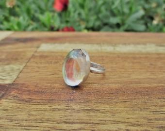 Angel Aura Quartz Ring / Angel Aura Ring / Sterling Silver Ring / Mermaid Ring / Aura Quartz Ring / Fairy Ring / Rainbow Crystal Ring