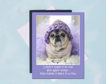 Pug Magnet - Didn't Make It To The Gym - 4x5 Pug magnet - by Pugs and Kisses