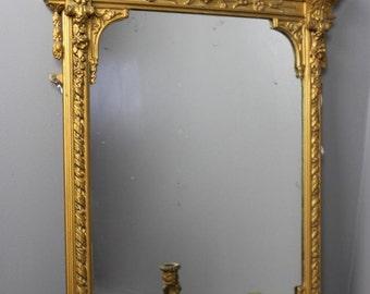 Antique Ornate Gilt Mirror Girandole