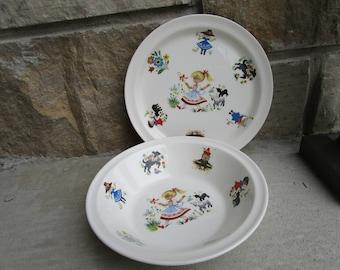 Brendan Erin Stone Mother Goose Nursery Rhymes Vintage Childs Plate and Bowl Dinner Set