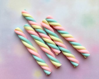 5 pastel candy polymer clay marshmallows