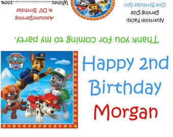 Paw Patrol Candy Bar Wrappers/Birthday Party Favors