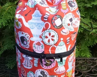 Mad Hatter large knitting bag, drawstring bag, knitting in public bag, Mad Hatter's Tea Party , Large Kipster