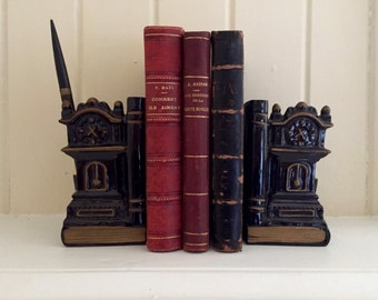 1950s Clock Bookends / Black Porcelain Bookends /