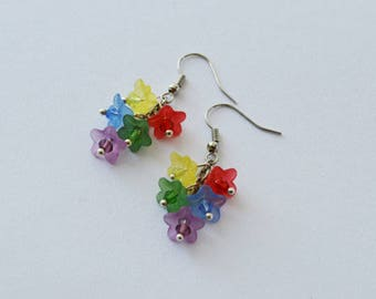 Colorful Flower Earrings Gothic fairy