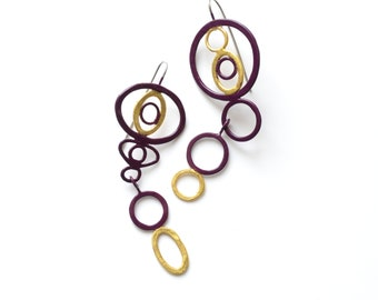 asymmetrical, mismatched earrings, burgundy, maroon, dark wine red, gold leaf detail, gilded, gold dipped, hook earrings, powder coat