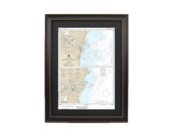 Framed Nautical Chart; Manitowoc and Sheboygan, Lake Michigan, Wisconsin NOAA 14922