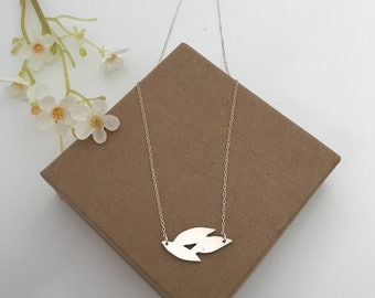 PENELOPE- flower petals necklace, pendant, brushed silver, sterling silver made from metal clay