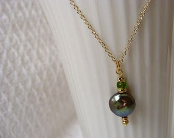 Green Freshwater Pearl Pendant and Gold Vermeil Necklace
