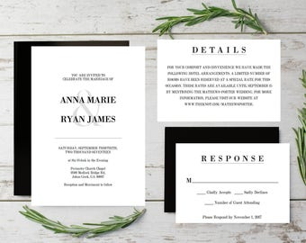 Classic Wedding Invitations Templates, Printable wedding invitation kits,  Instant Download Printable Wedding Invitations, Editable