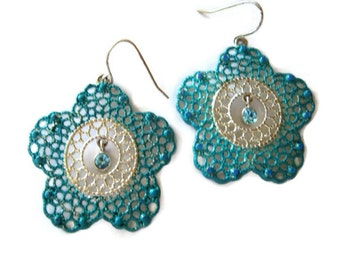 blue flower rhinestone earrings, dangle drop, filigree silver tone, hand painted turquoise, patina painted earrings